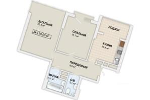 ЖК Lystopad: планировка 2-комнатной квартиры 69 м²