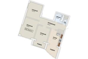 ЖК Lystopad: планировка 3-комнатной квартиры 94.5 м²