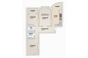 ЖК Lystopad: планировка 3-комнатной квартиры 86.73 м²