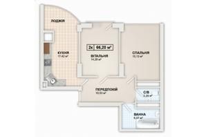 ЖК Lystopad: планировка 2-комнатной квартиры 66.2 м²