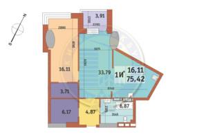ЖК «MIRAX»: планування 1-кімнатної квартири 75.42 м²