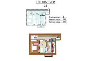 ЖК МЖК Сім'я: планування 2-кімнатної квартири 59.6 м²