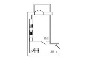 ЖК МЖК Сім'я: планування 1-кімнатної квартири 42.04 м²