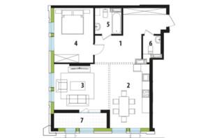 ЖК Madison Gardens: планировка 2-комнатной квартиры 77.36 м²