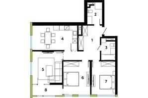ЖК Madison Gardens: планування 3-кімнатної квартири 87.83 м²