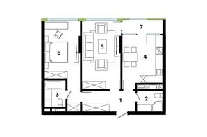 ЖК Madison Gardens: планировка 1-комнатной квартиры 72.09 м²