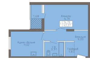 ЖК Магнолія: планування 1-кімнатної квартири 42.27 м²
