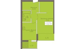 ЖК Магнолія: планування 1-кімнатної квартири 44.77 м²
