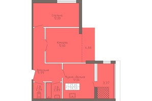 ЖК Магнолія: планування 2-кімнатної квартири 59.59 м²