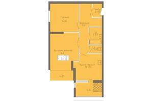 ЖК Магнолія: планування 2-кімнатної квартири 68.38 м²