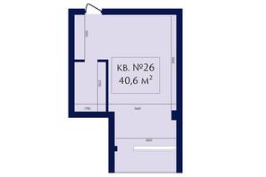 ЖК Маgнит, Дом на Фонтане: планування 1-кімнатної квартири 40.6 м²