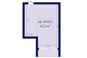 ЖК Маgнит, Дом на Фонтане: планування 1-кімнатної квартири 42.2 м²