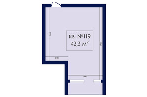 ЖК Маgнит, Дом на Фонтане: планування 1-кімнатної квартири 42.3 м²