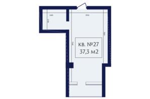 ЖК Маgнит, Дом на Фонтане: планування 1-кімнатної квартири 37.3 м²