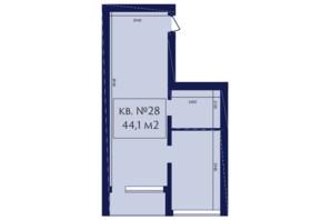 ЖК Маgнит, Дом на Фонтане: планування 1-кімнатної квартири 44.1 м²