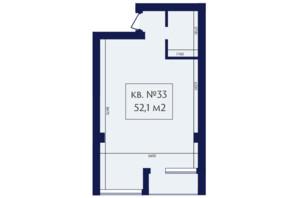 ЖК Маgнит, Дом на Фонтане: планування 1-кімнатної квартири 52.1 м²
