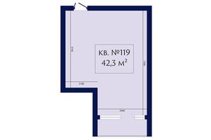 ЖК Маgнит, Дом на Фонтане: планировка 1-комнатной квартиры 42.3 м²