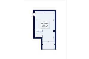 ЖК Маgнит, Дом на Фонтане: планировка 1-комнатной квартиры 48.7 м²