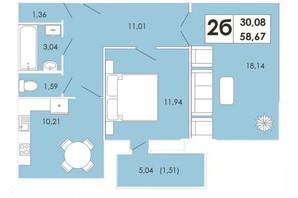 ЖК Maiborsky: планування 2-кімнатної квартири 58.67 м²