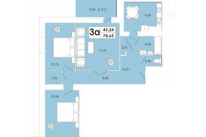 ЖК Maiborsky: планування 3-кімнатної квартири 78.73 м²