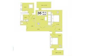 ЖК Maiborsky: планування 3-кімнатної квартири 74.47 м²