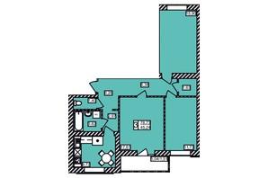 ЖК Maiborsky: планировка 3-комнатной квартиры 78.73 м²