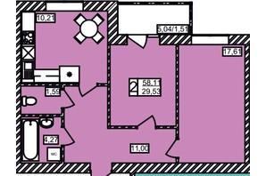 ЖК Maiborsky: планировка 2-комнатной квартиры 58.11 м²