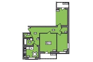 ЖК Maiborsky: планировка 3-комнатной квартиры 74.39 м²