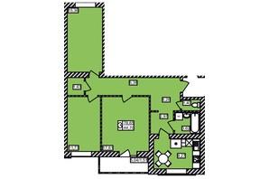ЖК Maiborsky: планировка 3-комнатной квартиры 78.65 м²