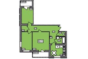 ЖК Maiborsky: планировка 3-комнатной квартиры 74.47 м²