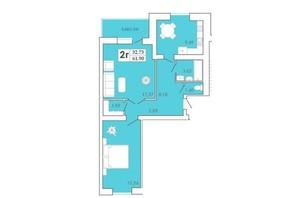 ЖК Maiborsky: планировка 2-комнатной квартиры 62.61 м²