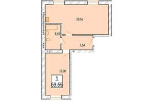 ЖК Маєток Боздош: планировка 1-комнатной квартиры 59.55 м²