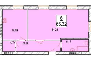 ЖК Маєток Боздош: планировка 1-комнатной квартиры 66.32 м²