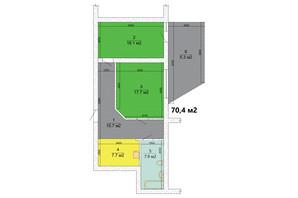 ЖК Маєток Боздош: планировка 2-комнатной квартиры 70.4 м²