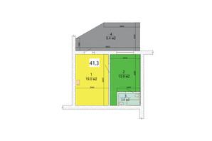 ЖК Маєток Боздош: планировка 1-комнатной квартиры 41.3 м²