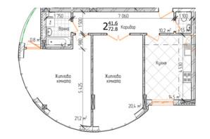 ЖК Маєток Буковинський: планировка 2-комнатной квартиры 72.8 м²