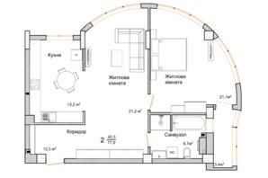 ЖК Маєток Буковинський: планировка 2-комнатной квартиры 77.9 м²