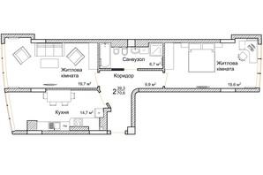 ЖК Маєток Буковинський: планировка 2-комнатной квартиры 70.6 м²