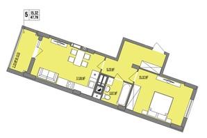 ЖК Маєток Винниківський: планировка 1-комнатной квартиры 47.79 м²