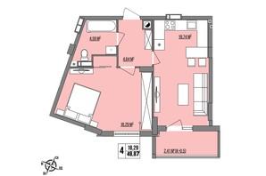 ЖК Маєток Винниківський: планировка 1-комнатной квартиры 48.87 м²