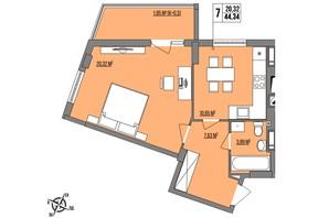 ЖК Маєток Винниківський: планировка 1-комнатной квартиры 44.34 м²