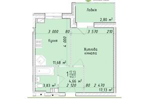 ЖК Маєток Винниківський: планировка 1-комнатной квартиры 40.1 м²