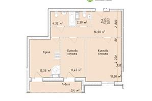 ЖК Маєток Винниківський: планировка 2-комнатной квартиры 67.4 м²