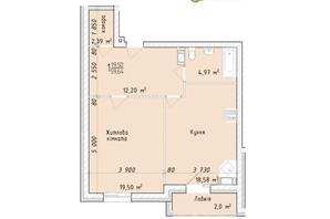 ЖК Маєток Винниківський: планировка 1-комнатной квартиры 59.64 м²