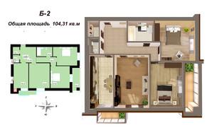 ЖК Мала Морська 24А: планування 3-кімнатної квартири 104.31 м²