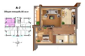 ЖК Мала Морська 24А: планування 2-кімнатної квартири 86 м²