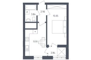 ЖК Малоголосківські пагорби: планування 1-кімнатної квартири 36.54 м²