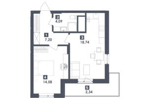 ЖК Малоголосківські пагорби: планування 1-кімнатної квартири 46.95 м²