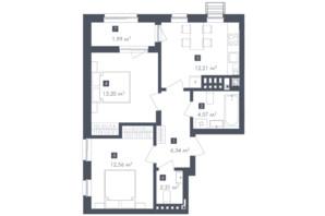 ЖК Малоголосківські пагорби: планування 2-кімнатної квартири 53.23 м²