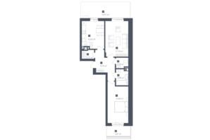 ЖК Малоголосківські пагорби: планування 2-кімнатної квартири 70.45 м²